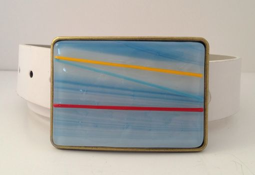 Custom Made Sky Blue With Red And Yellow Stripes Fused Glass Belt Buckle
