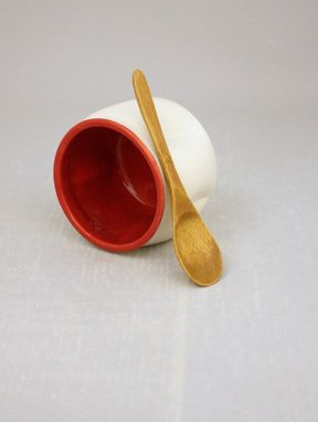 Custom Made Ceramic Salt Cellar In Cherry Bomb Red And Farmhouse White