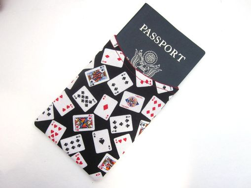 Custom Made Handmade Passport Sleeve Cover Playing Cards, Vegan
