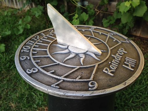 "Custom Made Custom ""Sun"" Aluminum Sundial Made For Your Location With Personalized Text."
