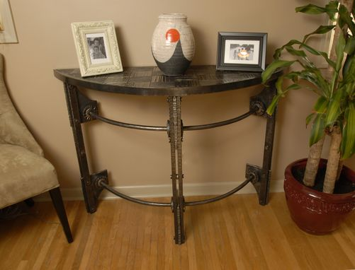 Custom Made Hand Forged Iron Half Round Console Table