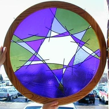 Custom Made Judaic Art - Abstract Star Of David In Stained Glass