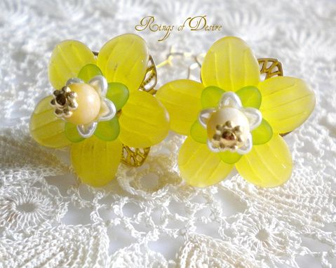 Custom Made Sold Out Golden Daisy Earrings With Yellow Jade And Gold Plate