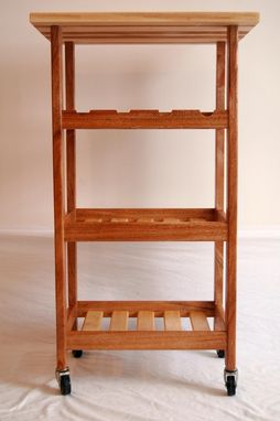 Custom Made Khaya And Hardmaple Rolling Kitchen Cart With Wine Rack