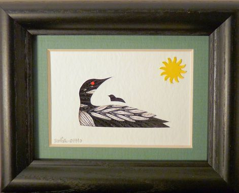 Custom Made Loons - Quilled Loon And Baby Miniature Wall Art Framed