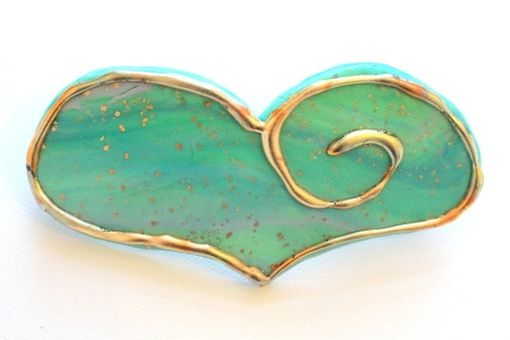 Custom Made Barrette, Hair Clip, Heart Barrette, Mint Green, Spring Hair Fashion,