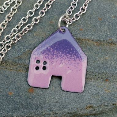 Custom Made Enamel House Necklace Pendant Copper Home Enameled Jewelry - Pink Purple