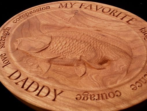 Custom Made My Favorite Daddy Fisherman 3d Relief Carving W/ Custom Border On Cherry Wood - Cnc