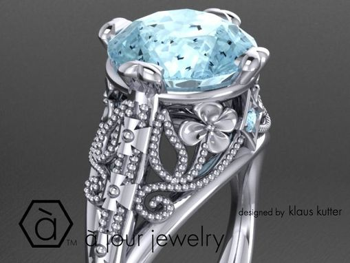 Custom Made Filigree, Flower, Mile-Grain, Aquamarine 18k White Gold Ring