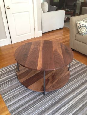 Custom Made Walnut Two Level Round Coffee Table
