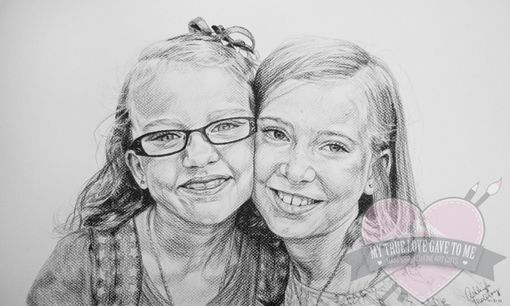 Custom Made Charcoal Portrait Drawing, Christmas 2011
