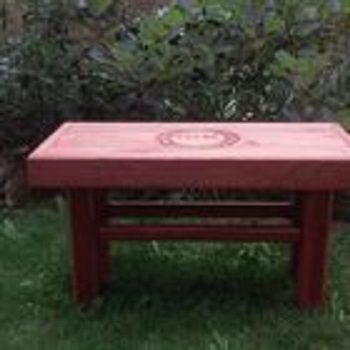 Custom Made Garden Bench With Carving