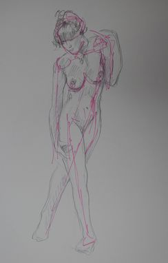 Custom Made Pink Linear Figure, Sketch