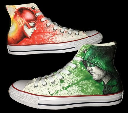 Custom Made Hand Drawn Arrow And Flash Converse