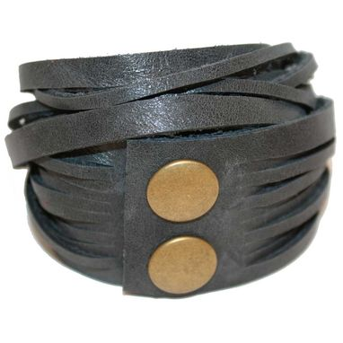 Custom Made Leather Wrap Bracelet: Charcoal Grey With Antique Brass Snaps