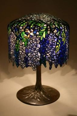 Custom Made Wisteria Lampshade On Tree Trunk Base.