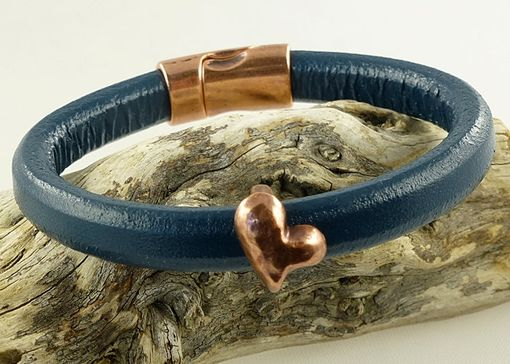Custom Made Copper Heart Navy Licorice Leather Bracelet