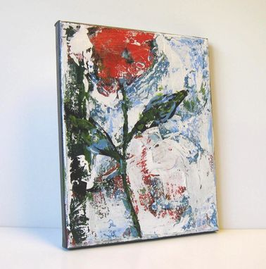Custom Made Red Still Life Abstract Flower Painting