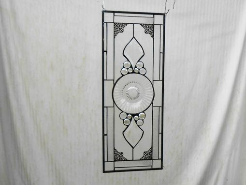 Custom Made 1920s Heisey Coarse Rib Stained Glass Transom Window, Depression Glass Antique Window Valance