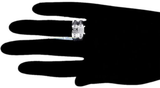 Custom Made Diamond Wedding Ring Set His Hers 14k White Gold 1.34 Ct Round Cut