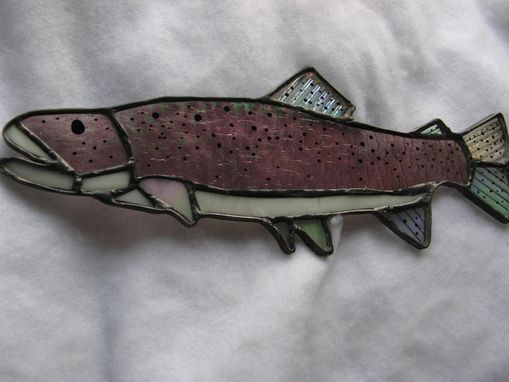 Custom Made Iridescent Stained Glass Rainbow Trout