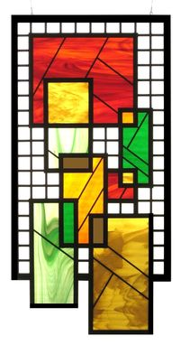 Custom Made Hanging Stained Glass W Beveled Squares In Warm Colors