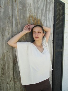 Custom Made Hemp/Bamboo Knit Caftan Top In Oatmeal