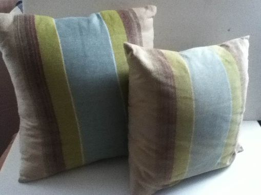 Custom Made Pillows Hand Woven Stripe Green Teal Beige Cotton Linen