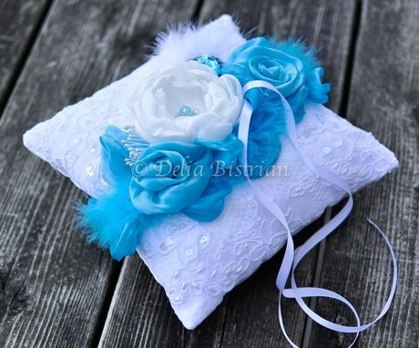 Custom Made Ring Bearer Pillow / Wedding Pillow - Something Blue White Dupioni Silk, Alencon Lace Overlay