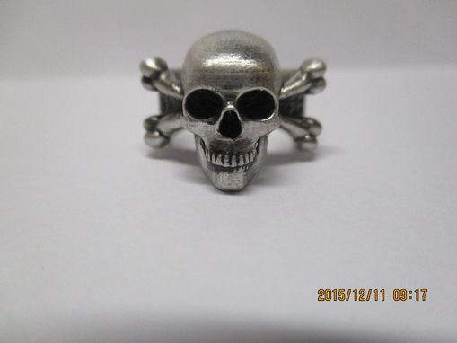 Custom Made Carved Skull And Bones Ring Large