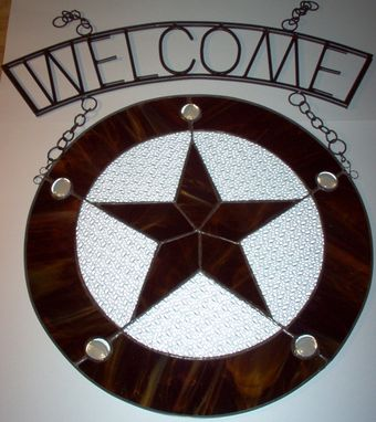 Custom Made Wrought Iron Welcome Sign With Star Panel, Ready To Ship