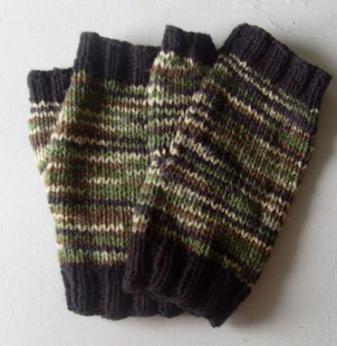 Custom Made Hand Knit Fingerless Gloves For Men / In Green And Black Camouflage
