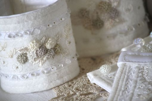 Custom Made Hand Embroidered Bridal Cuff Bracelet
