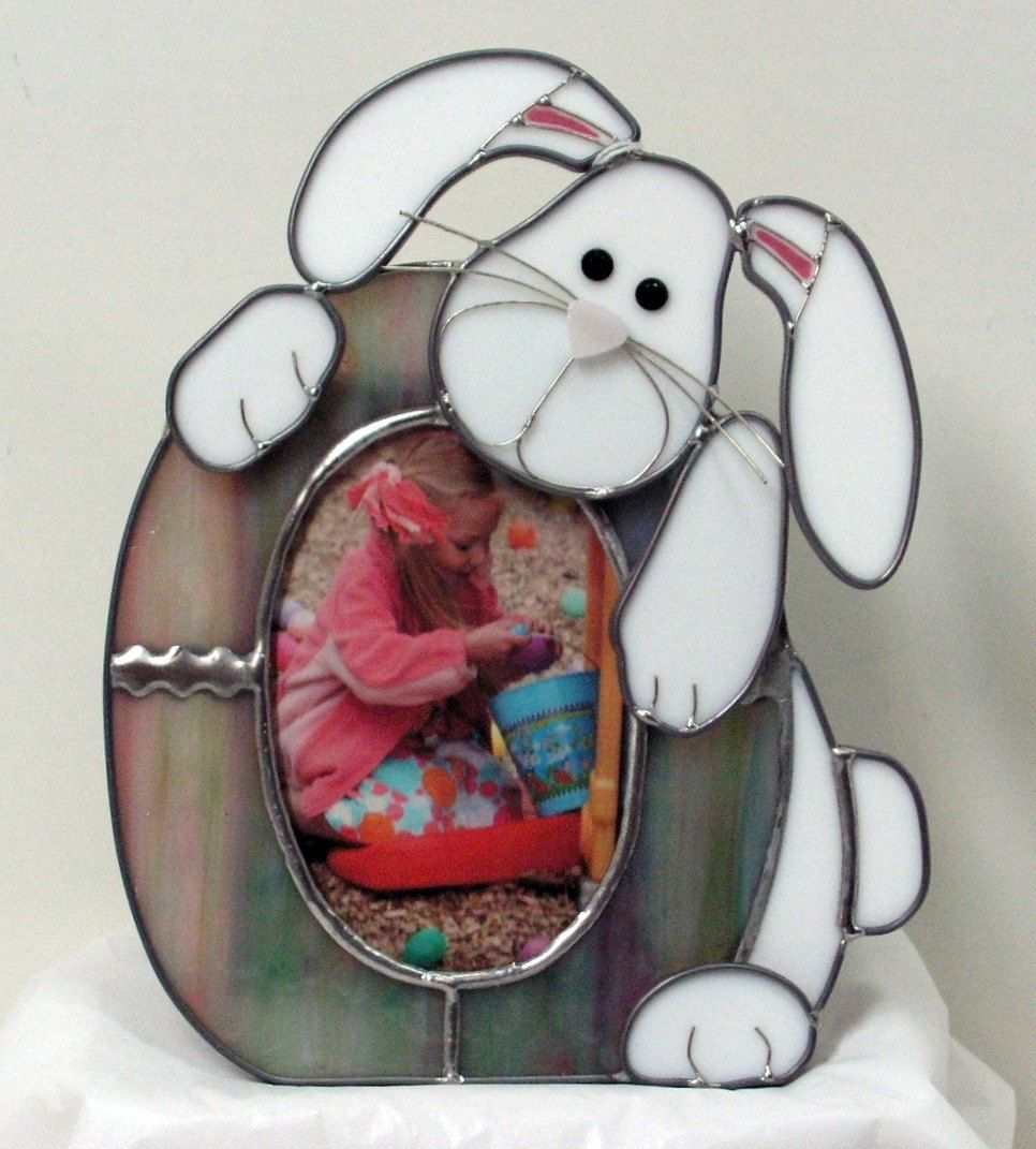 Hand Made Stained Glass Easter Egg And Bunny Picture Frame