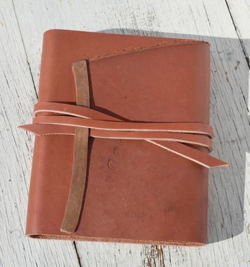 Custom Made Handmade Red Leather Bound Journal Travel Diary Copper Watercolor Art Notebook