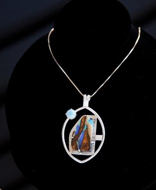 Custom Made Opal And Chalcedony Silver Pendant