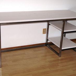office desk wood. Modern Urban Industrial Desk, Wood \u0026 Metal Office Desk With Shelves, Work Station, Craft Table