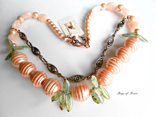 Custom Made Necklace Peach Shell Pearls, Dyed Jade, Peach Pearls, Czech Glass Daggers And Copper Chain