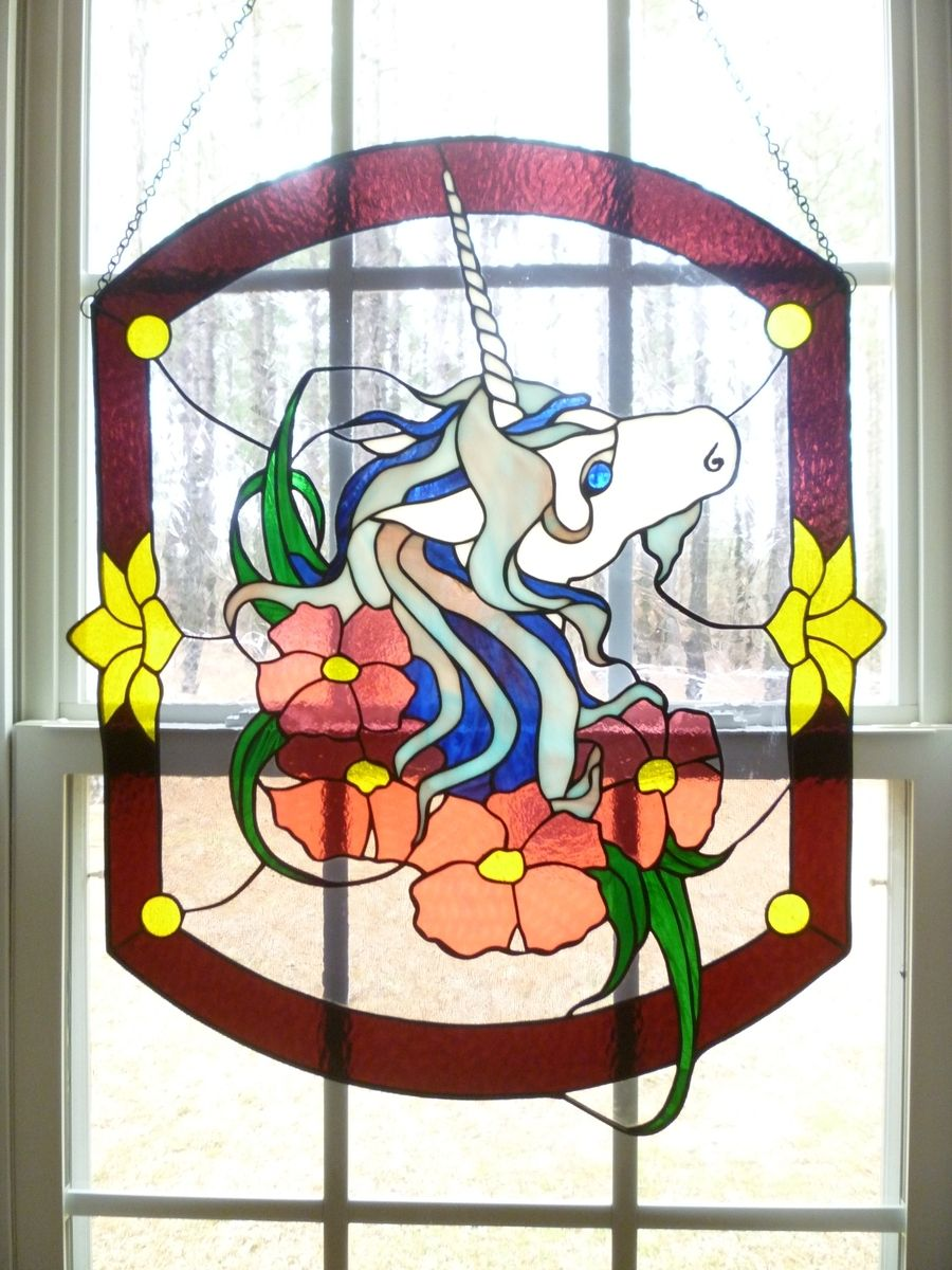 Custom Made Unicorn Stained Gl Hanging Panel