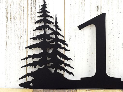 Rustic House Number Pine Trees Metal Sign Numbers Address Plaque