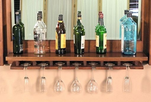 Custom Made Solid Mahogany Wine Bottle & Glass Rack Hanging Bar Mirror