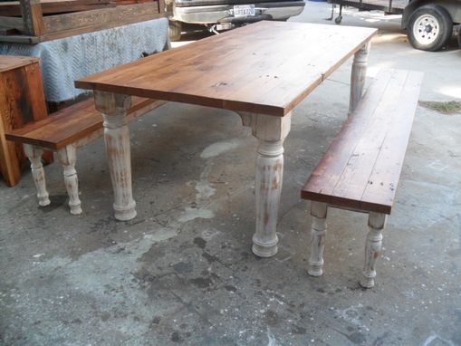 Custom Made Table And 2 Benches Custom Made From Reclaimed Wood