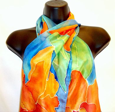 Custom Made Hand Painted Orange Floral Silk Scarf