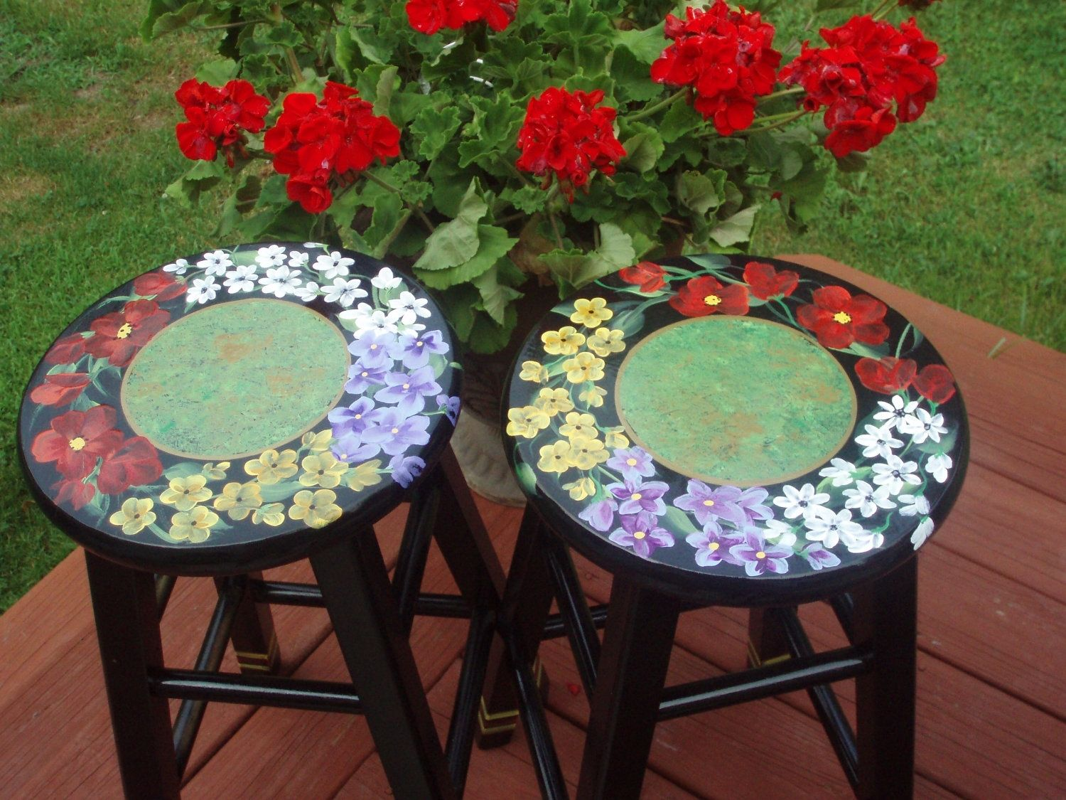 Buy Custom Painted Floral Bar Stool 24 Inches Or 29