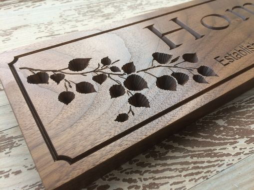 Custom Made Aspen Leaf Established Sign On Walnut