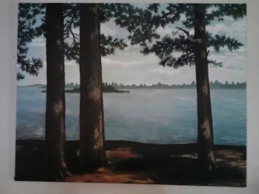 Custom Made Oil Painting Of Ocean Through Pine Trees In Maine