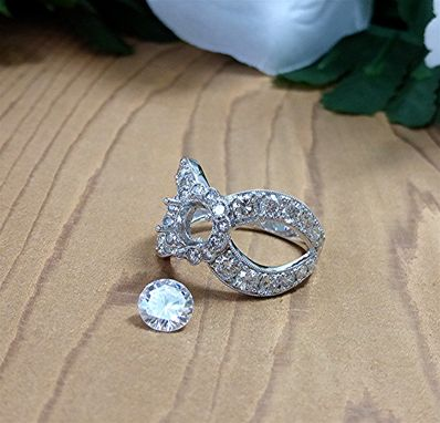 Custom Made Wide Split Shank Diamond Semi Mount Engagement Ring