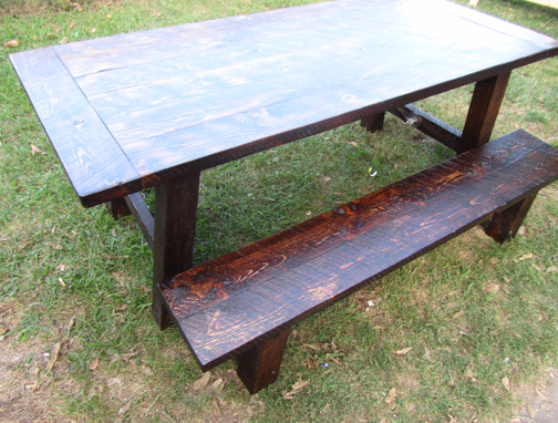 Custom Made Farmhouse Dining Table With Optional Benches