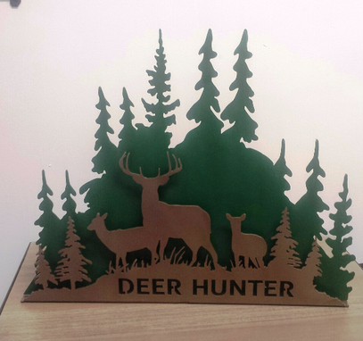 Custom Made 3-D Deer Hunter Led Lighted Sign Night Light On A Base