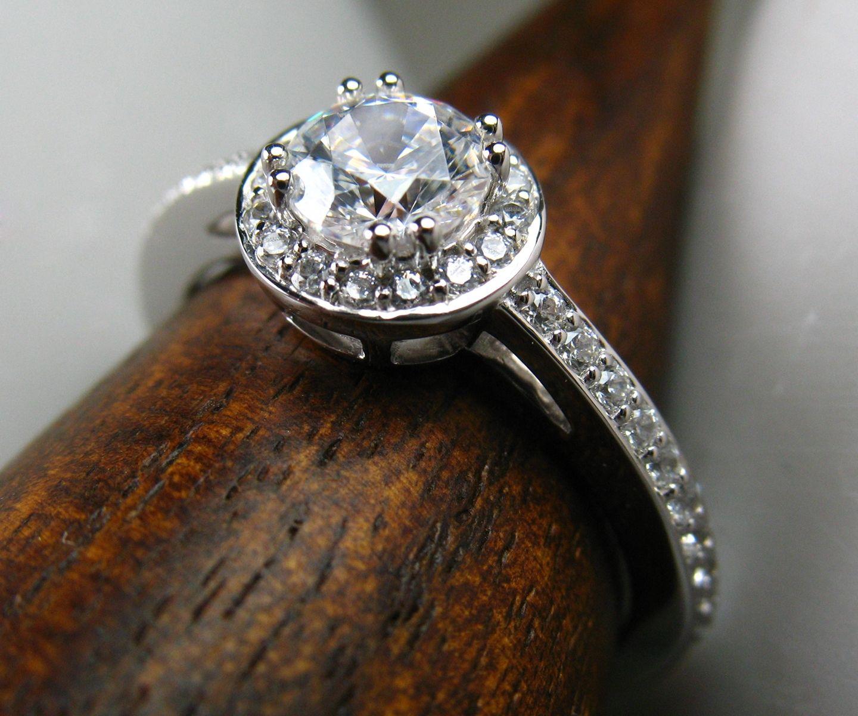 Custom Made Diamond Halo Engagement Ring